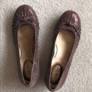 Bronze wedges ballerinas size 8.5, leather upper